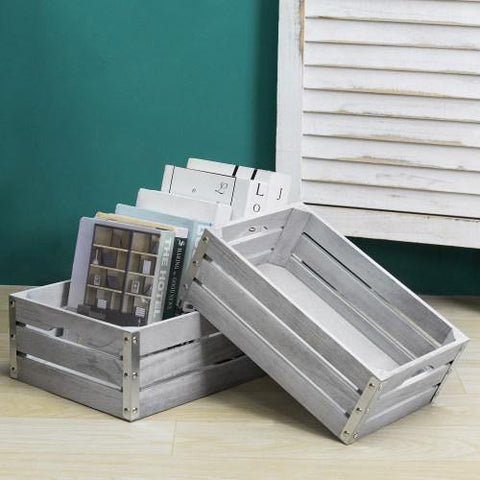 Gray Wooden Crates