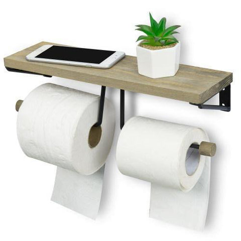 Gray Wood Toilet Paper Double Holder
