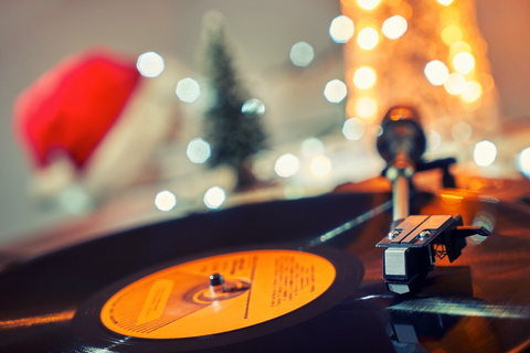 Vinyl Player with Holiday Background
