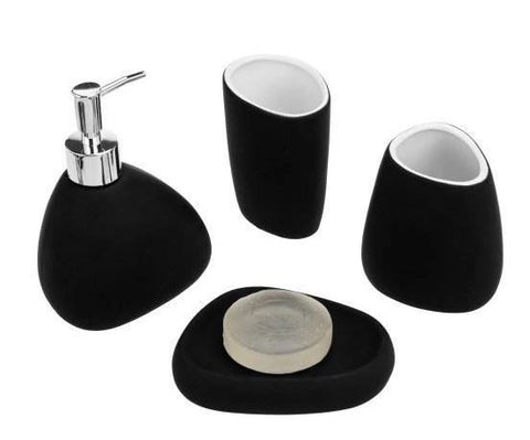 Modern Black Ceramic Bathroom Accessory Set