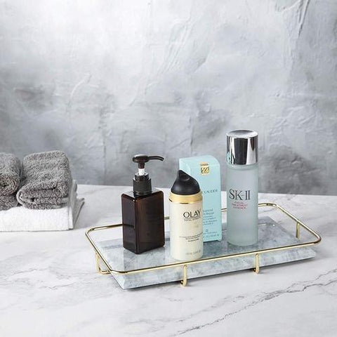 Brass and Marble Vanity Tray with Toiletries