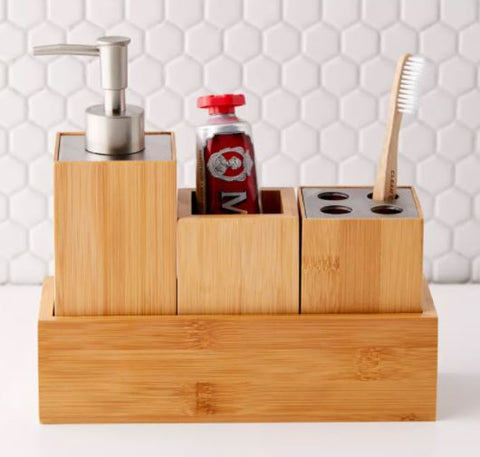 Wood Bathroom Accessory Set