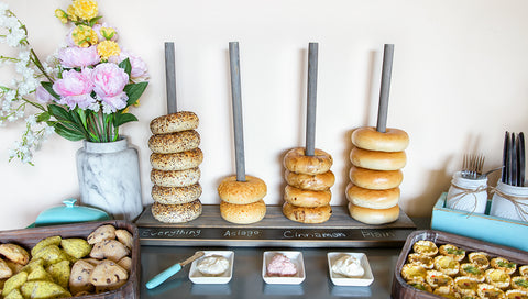 Rustic Bagel Stand with Bagels