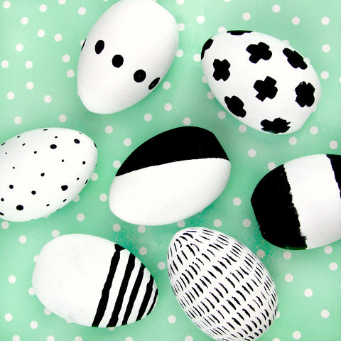Black White Easter Egg Decor