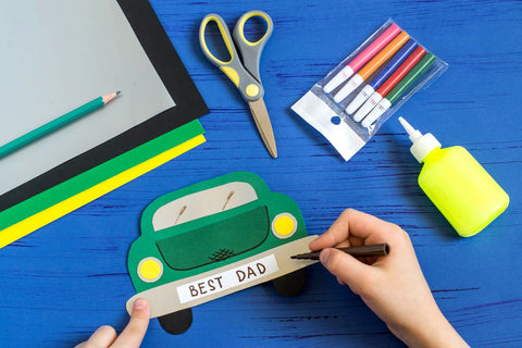 Paper Craft Green Car and Scissors