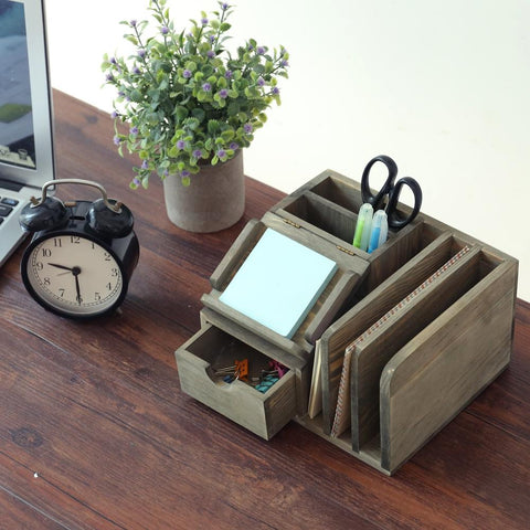 small wooden desktop organizer