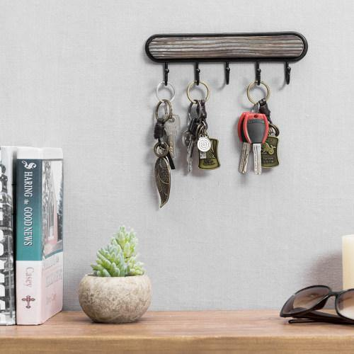 Wall Mounted Torched Wood & Black Metal Key Rack