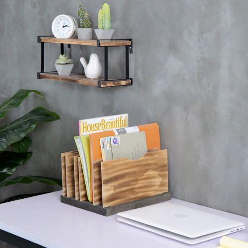 Smart Office Document Organizer with Adjustable Wood Panels - MyGift