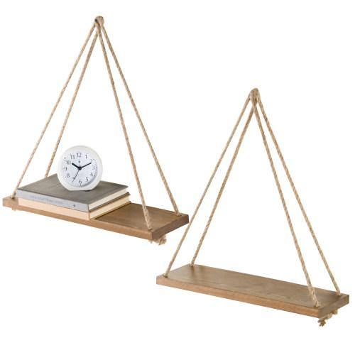 Light Brown Burnt Wood Hanging Rope Shelves, Set of 2 - MyGift