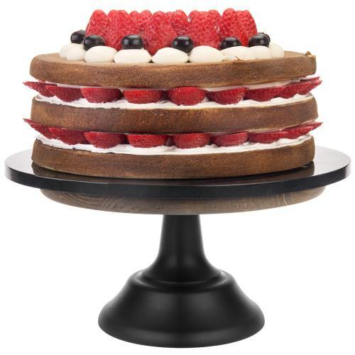 10-inch Brown Wooden Cake Stand with Black Base