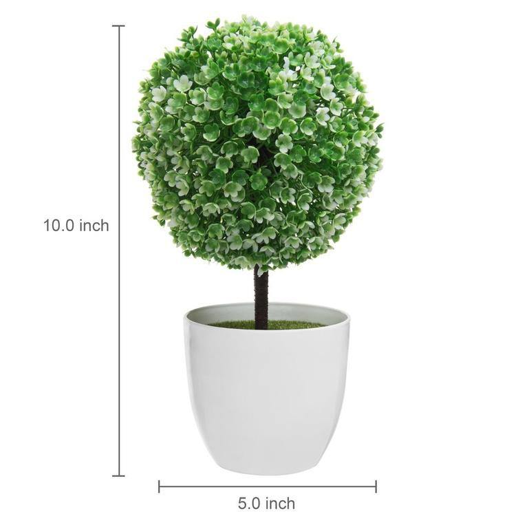 10 inch Faux Tabletop Topiary Trees w/ White Planter Pots, Set of 2 - MyGift