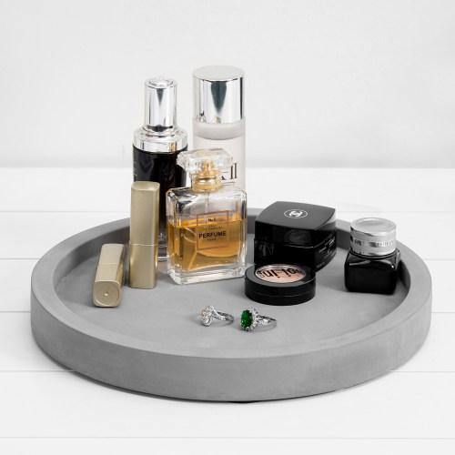 11-inch Classic Cement Gray Round Vanity Tray - MyGift