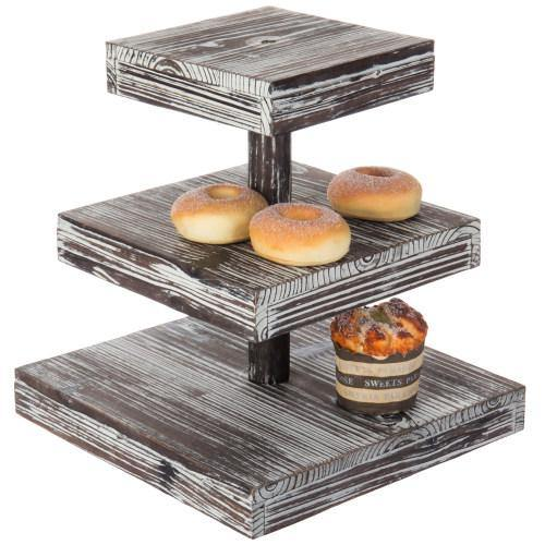 12-Inch Torched Wood Dessert / Appetizer Stand