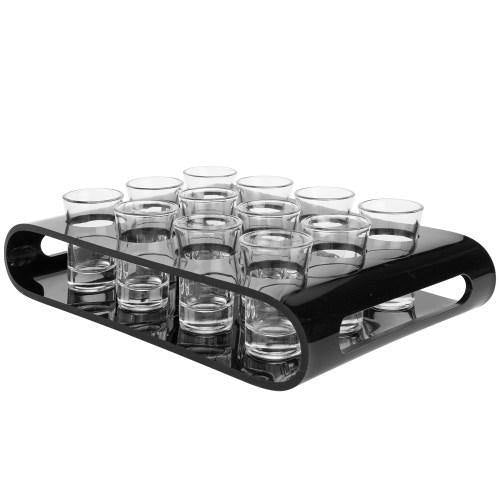 12 Shot Glass Flight Set with Black Acrylic Serving Tray - MyGift - MyGift