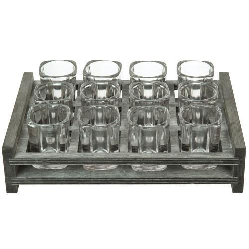 12 Shot Glass Party Server with Vintage Gray Wood Tray - MyGift