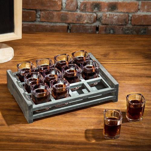 12 Shot Glass Party Server with Vintage Gray Wood Tray