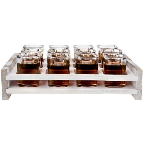 12 Shot Party Server with Whitewashed Wood Serving Tray