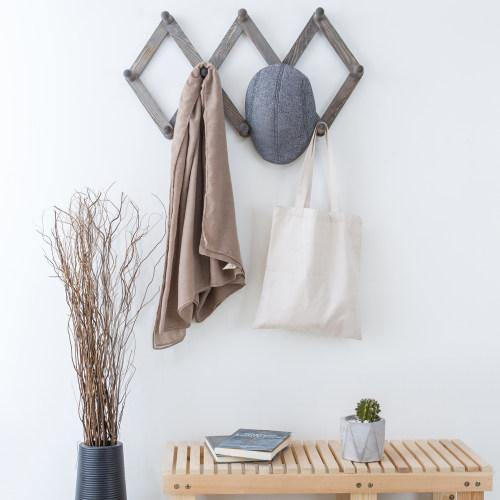10-Hook Rustic Gray Wood Expandable Accordion Peg Coat Rack Hanger - MyGift Enterprise LLC