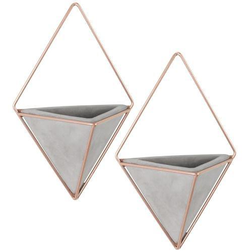 Triangular Cement Wall Planters with Rose Gold-Tone Metal Frames, Set of 2 - MyGift