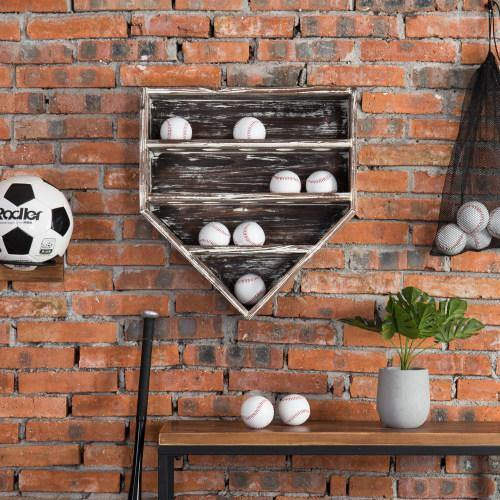 14 Baseball Wall-Mounted Torched Wood Display
