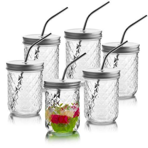 14 oz Mason Jar Glasses with Lids & Stainless Steel Straws, Set of 6 - MyGift