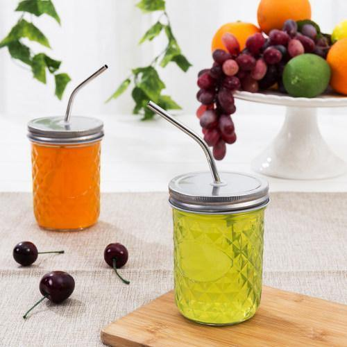 14 oz Mason Jar Glasses with Lids & Stainless Steel Straws, Set of 6