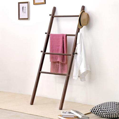 Wall-Leaning Dark Brown Wood Garment Ladder-Style Wall Rack-MyGift
