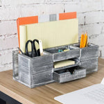 Rustic Gray Wood Desktop Organizer