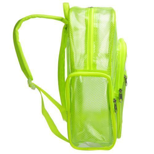 17-Inch Green Mesh & Clear PVC School Backpack - MyGift