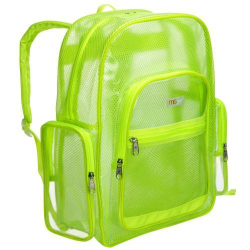 17-Inch Green Mesh & Clear PVC School Backpack
