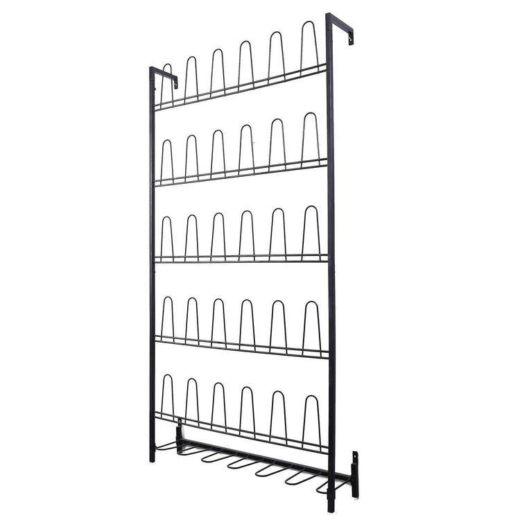 18 Pair Black Metal Wall Mounted Entryway Shoe Storage Organizer Rack - MyGift Enterprise LLC