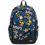 19-Inch Blue/Yellow Love & Peace Polyester Leisure School Backpack