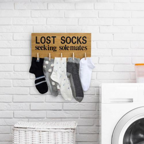 "Funny Bamboo Laundry Room Decoration ""Lost Socks Seeking Solemates"""