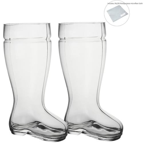 2 Liter Beer Boot Glass Set - Oktoberfest Beer Boots - Set of 2 - MyGift® - MyGift Enterprise LLC