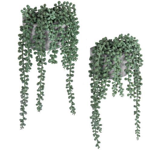 Artificial String of Pearls Plants in Wall-Hanging Gray Cement Planters, Set of 2 - MyGift