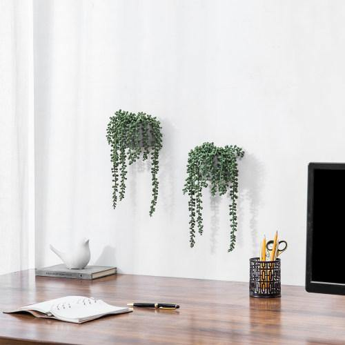 Artificial String of Pearls Plants in Wall-Hanging Gray Cement Planters, Set of 2