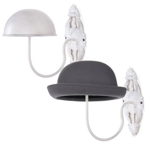 Wall-Mounted Vintage White Metal Hat & Wig Holders, Set of 2 - MyGift