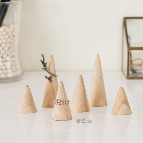 Set of 6 Natural Wood Cone Ring Holders
