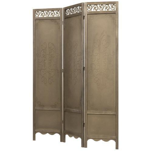 3-Panel Antique Brown Wood Room Divider - MyGift