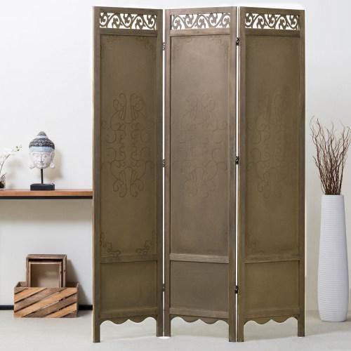 3-Panel Antique Brown Wood Room Divider