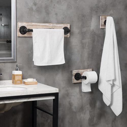 3-Piece Torched Wood & Black Metal Pipe Bathroom Accessory Set