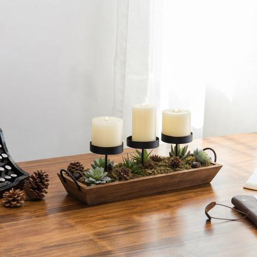 3-Pillar Candle Holder with Rustic Wood Tray