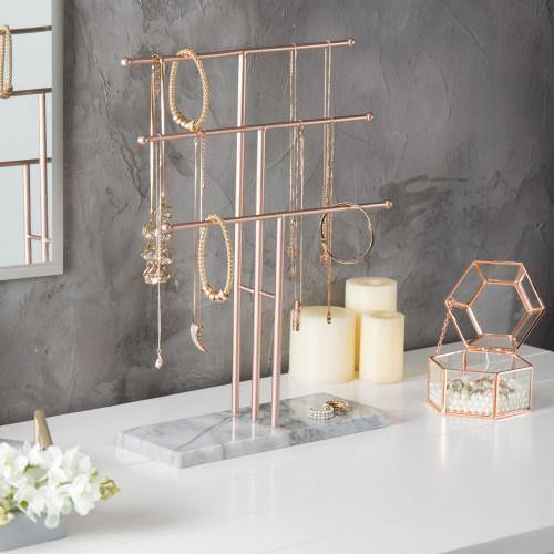 3-Tier Rose Gold-Tone Metal Necklace Display Stand with Stone Base