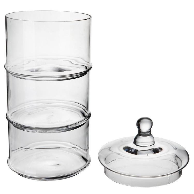 16 inch 3 Tier Stacking Apothecary Jars, Round Glass Candy and Cookie Dishes - MyGift Enterprise LLC
