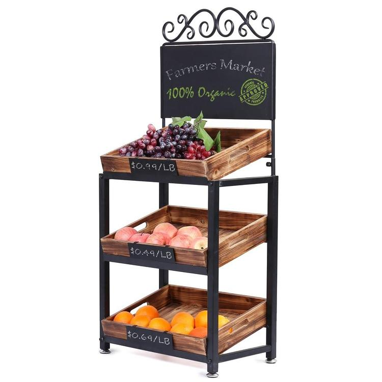3-Tier Vintage Metal & Wood Produce Stand with Chalkboard Signs - MyGift Enterprise LLC