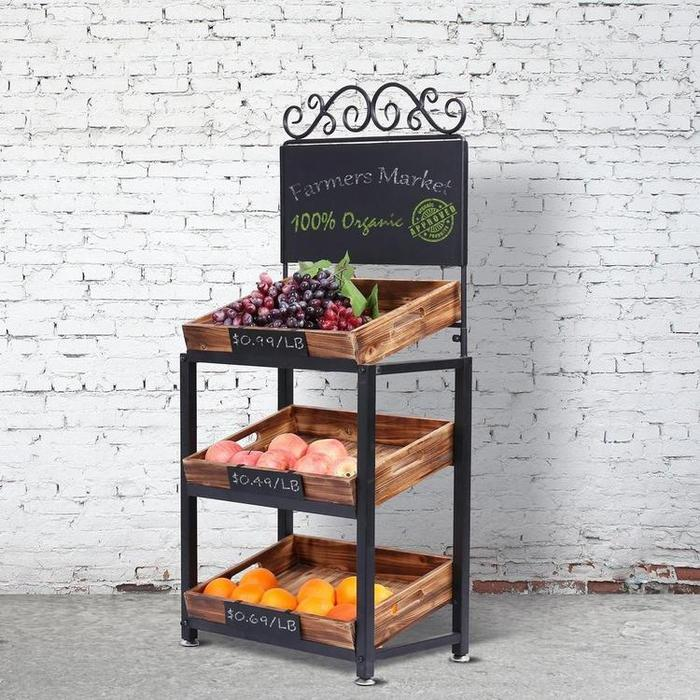 3-Tier Vintage Metal & Burnt Wood Produce Stand with Chalkboard Signs