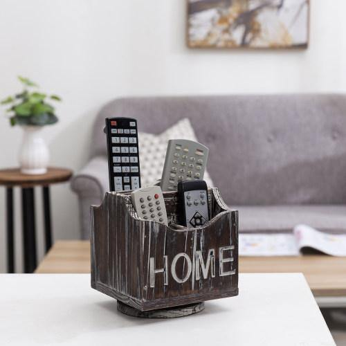 360-Degree Rotating Torched Wood Remote Control Holder Caddy