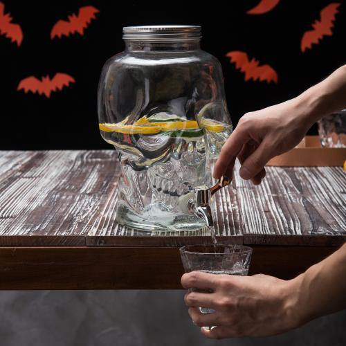 1-Gallon Glass Skull Drink Dispenser, Clear - MyGift