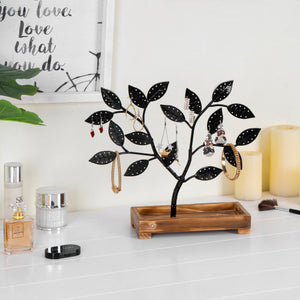 Black Metal Jewelry Tree with Wooden Trinket Tray