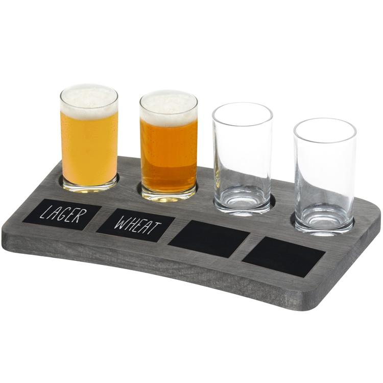 4-Glass Beer Flight Tray with Chalkboard Labels
